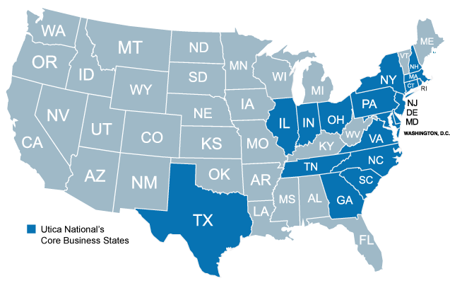 A map of where Utica National Insurance group has coverage for commercial insurance
